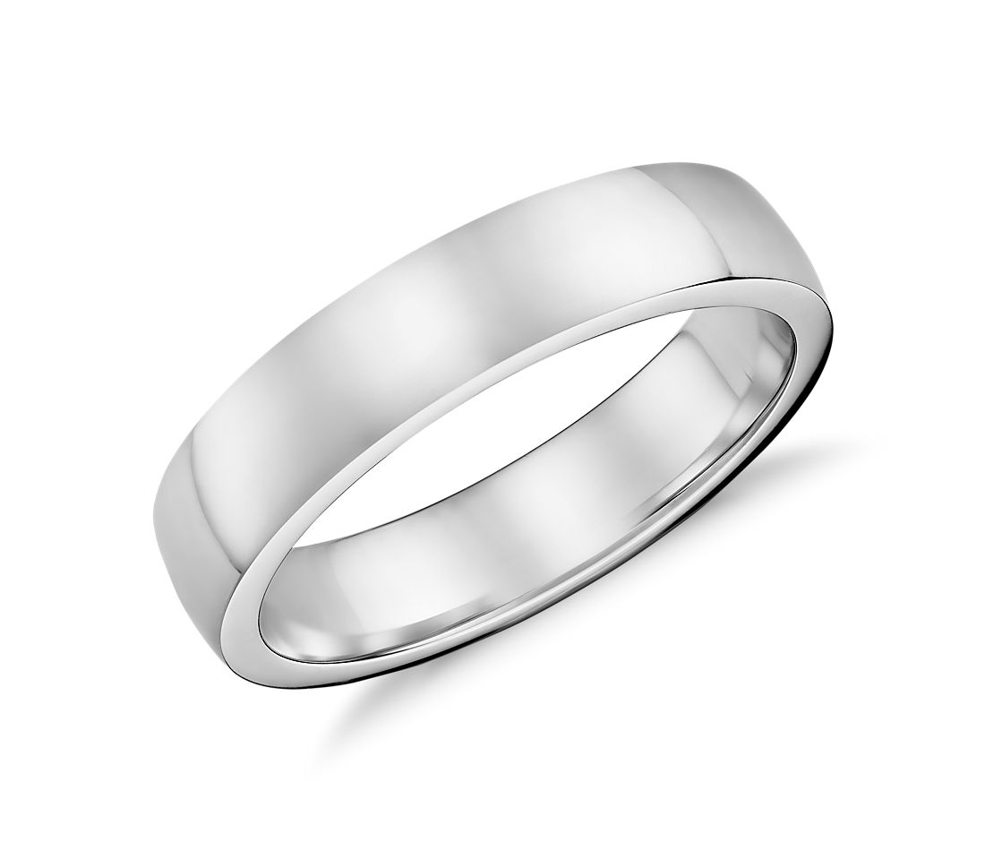 Low Dome Comfort Fit Wedding Ring in 18k White Gold (5mm)