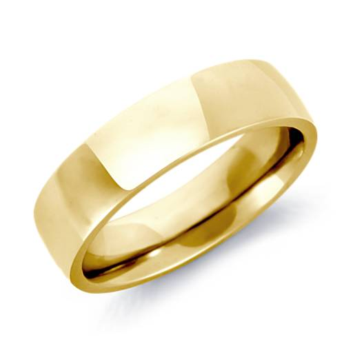 Low Dome Comfort Fit Wedding Ring in 18k Gold (6mm)