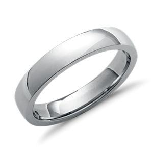 铂金低圆顶内圈圆弧设计结婚戒指(4毫米)