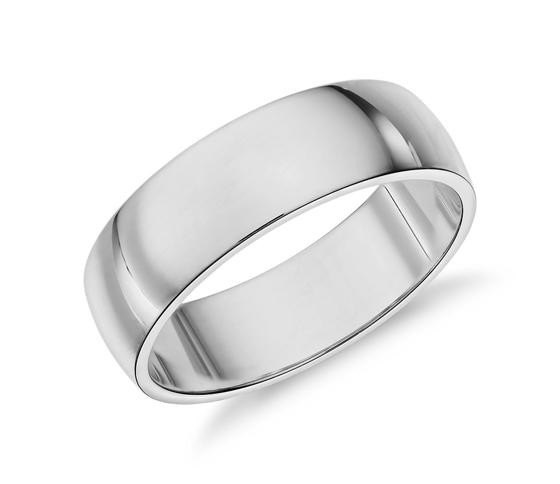 Low Dome Wedding Ring in 14k White Gold (6mm)
