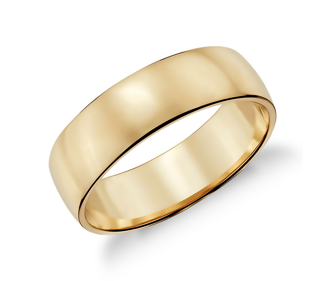 Low Dome Wedding Ring in 14k Yellow Gold (6mm)