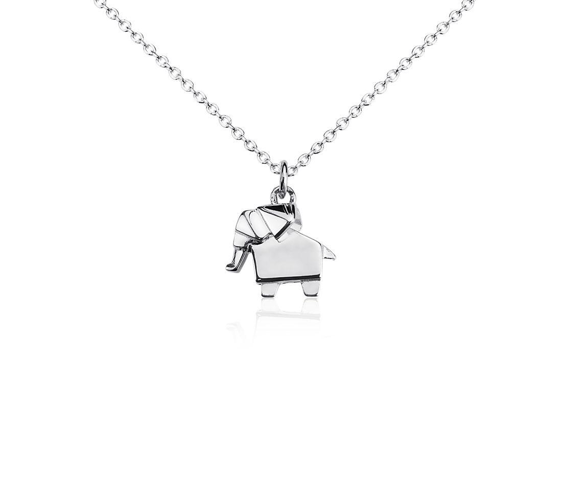 Colgante con elefante de la suerte en plata de ley