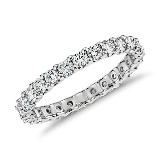 Anillo de Eternidad Luna con diamantes en oro blanco de 14k (1 qt. total)