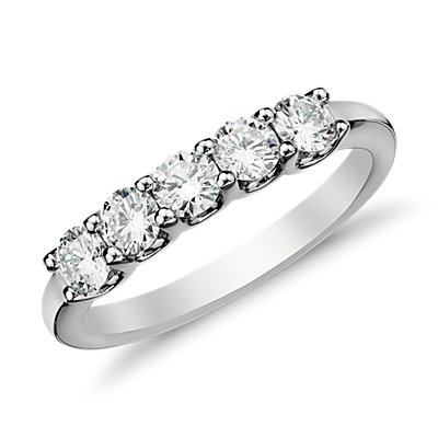Anillo de cinco diamantes Luna en oro blanco de 14 k (3/4 qt. total)