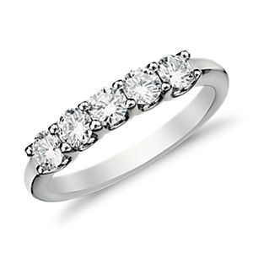 Anillo de cinco diamantes Luna en oro blanco de 14k (3/4 qt. total)