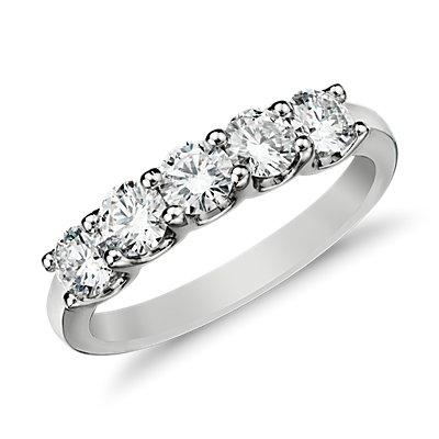 14k 白金Luna 五石鑽石戒指( 1 克拉總重量)