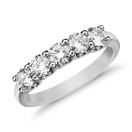 Bague diamant à cinq pierres Luna en platine (1 carat, poids total)