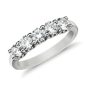 Anillo de cinco diamantes Luna en platino (1 quilate en total)