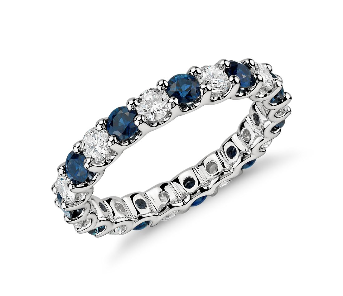 Luna Sapphire and Diamond Eternity Ring in Platinum 1 ct tw