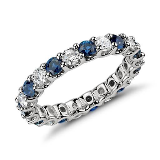 Luna Sapphire and Diamond Eternity Ring in Platinum (1 ct. tw.)