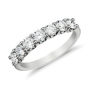 Anillo de siete diamantes Luna en oro blanco de 14k (1 qt. total)