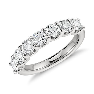 Anillo de siete diamantes Luna in platino (1.5 qt. total)