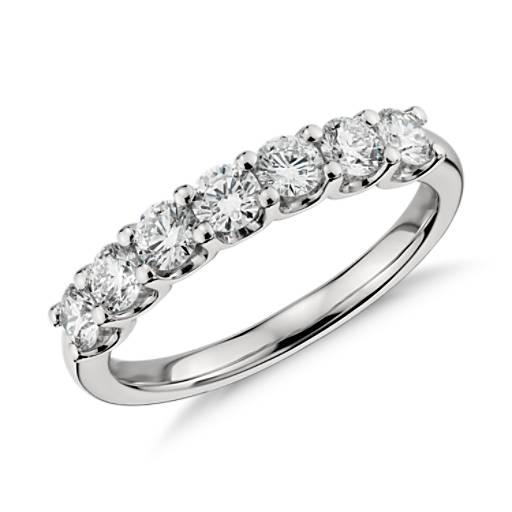 Anillo de siete diamantes Luna en platino (1 qt. total)