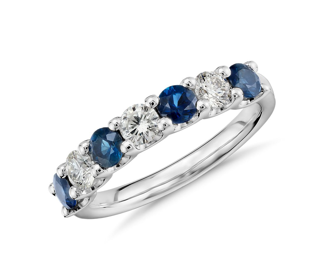 luna seven stone sapphire and diamond ring in platinum