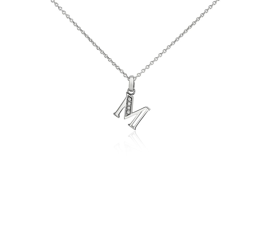 "Mini Initial ""M"" Diamond Pendant in 14k White Gold"