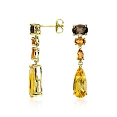 Madeira Citrine, Citrine, and Smoky Quartz Earrings in Gold Vermeil