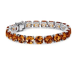 Madeira Citrine Cushion Cut Bracelet in Sterling Silver (8mm)