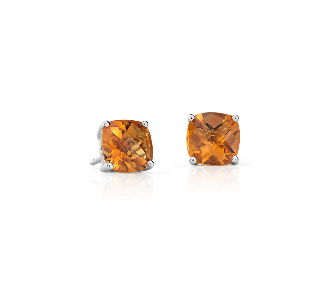 Madeira Citrine Cushion Earrings in Sterling Silver (8mm)