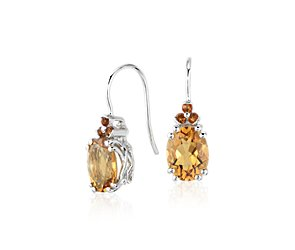Citrine and Madeira Citrine Drop Earrings in Sterling Silver