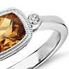 Madeira Citrine East West Milgrain Ring in Sterling Silver