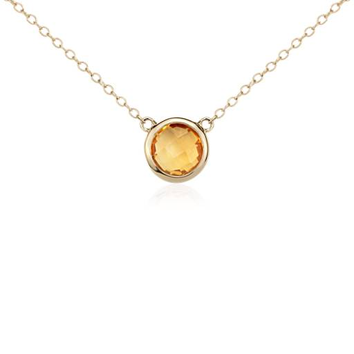 Collier solitaire citrine de Madère en or jaune 14 carats (8 mm)