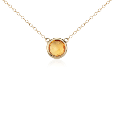 Madeira Citrine Solitaire Necklace In 14k Yellow Gold 8mm