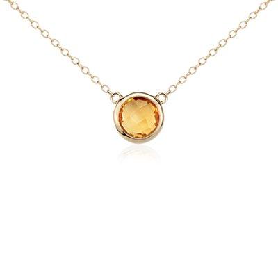 Collar con solitario de cuarzo citrino Madeira en oro amarillo de 14k (8 mm)