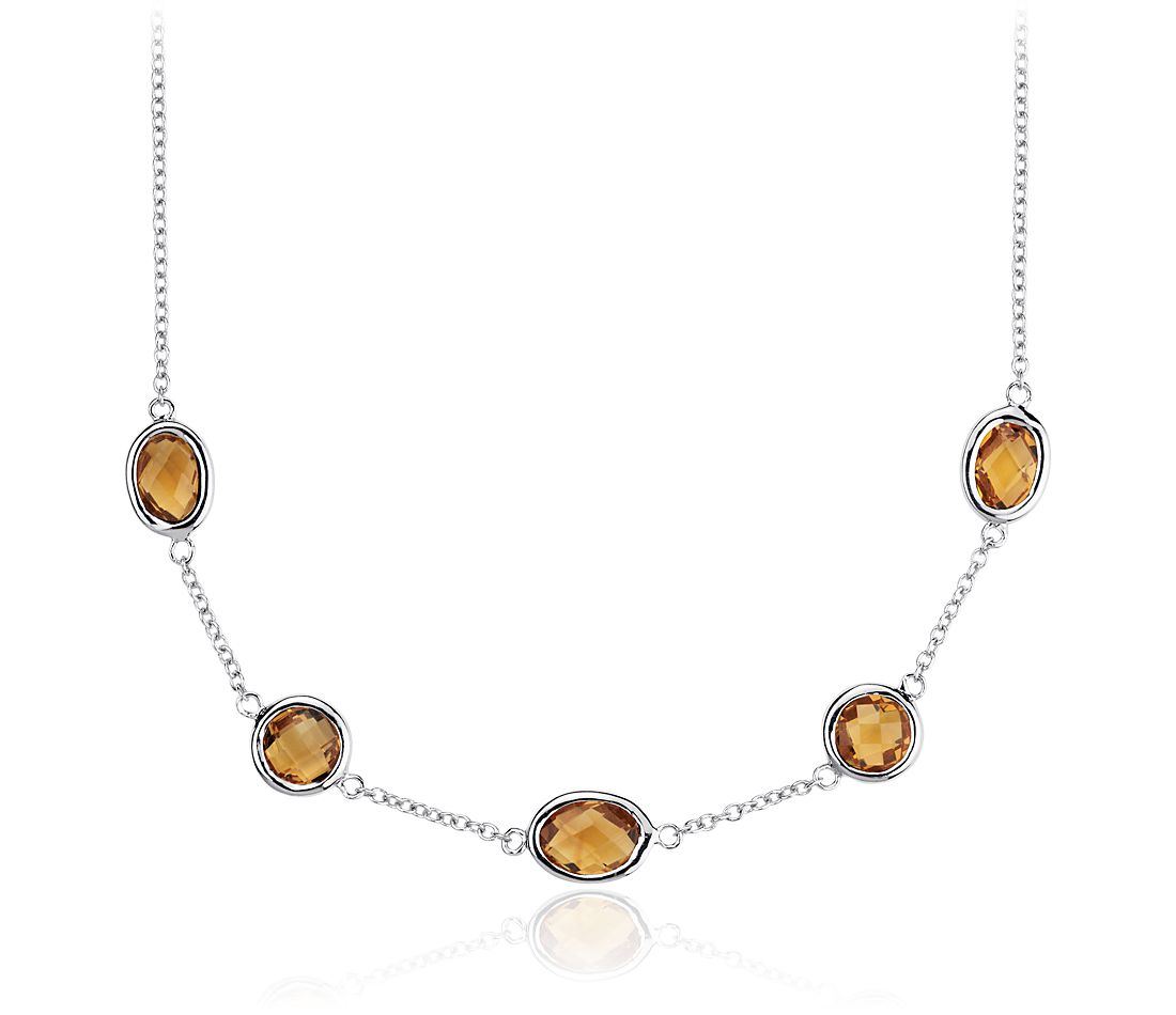 Madeira Citrine Stationed Necklace in Sterling Silver