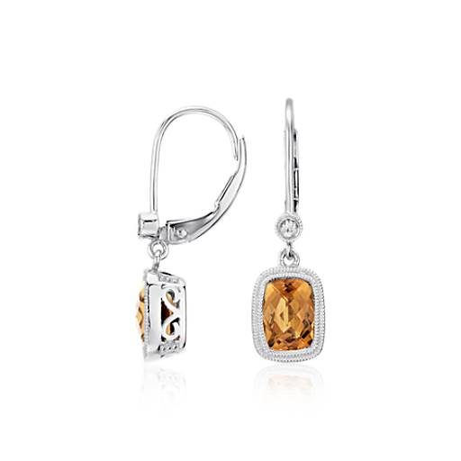 Madeira Citrine and White Sapphire Milgrain Dangle Earrings in Sterling Silver (7x5mm)