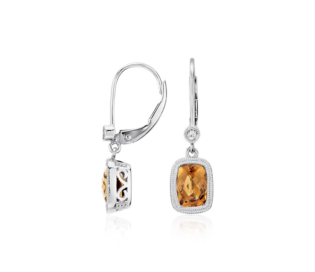 Madeira Citrine and White Sapphire Milgrain Dangle Earrings in Sterling Silver