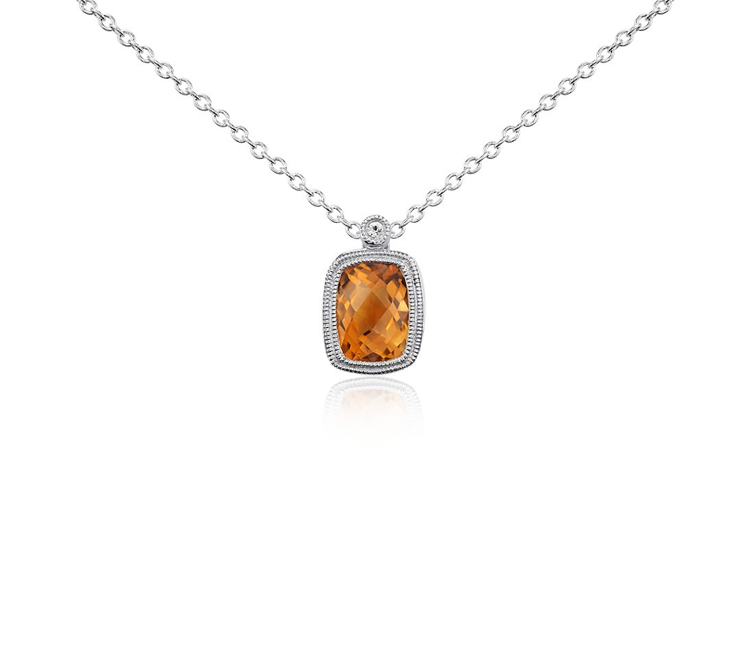 Madeira Citrine and White Sapphire Milgrain Pendant in Sterling Silver