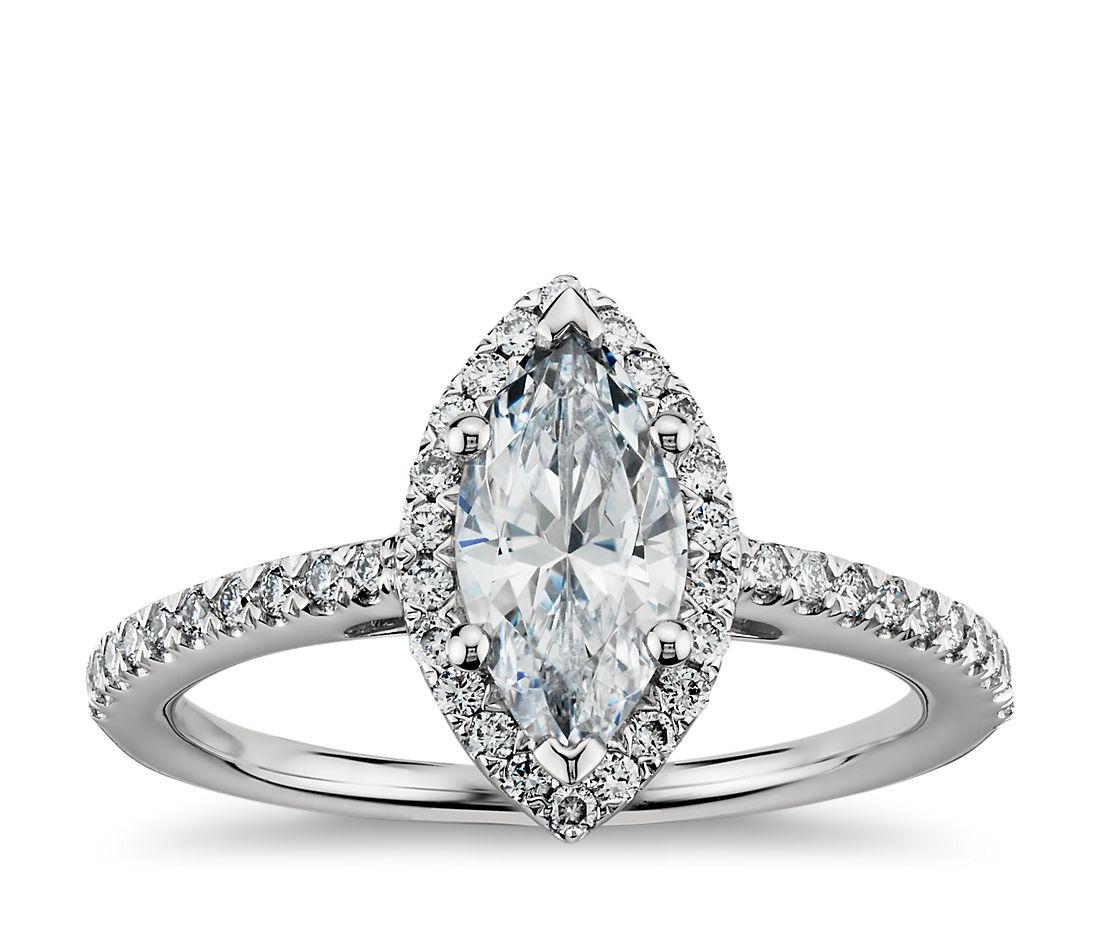Marquise Cut Halo Diamond Engagement Ring in 18k White Gold