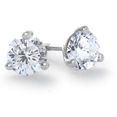 Martini Three Claw Earrings in 14k White Gold
