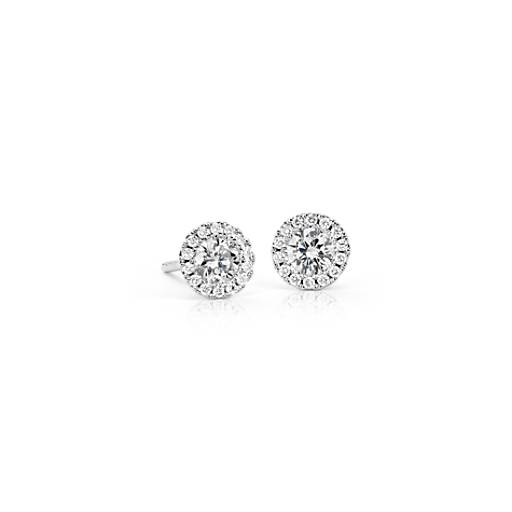 NEW Martini Halo Diamond Earrings in 14k White Gold