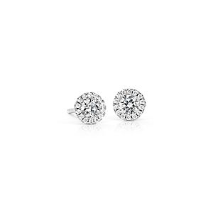 Boucles d'oreilles halo de diamants Martini en or blanc 14 carats (1/2 carat, poids total)