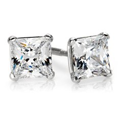 Martini Four Claw Earrings in Platinum