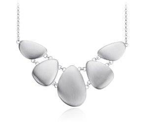 Matte Bib Pebble Necklace in Sterling Silver