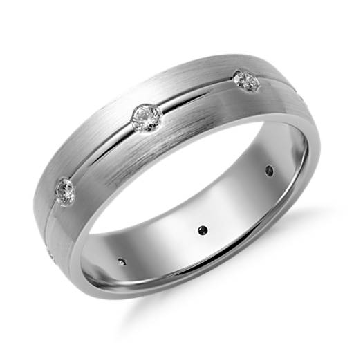 Matte Burnished Diamond Wedding Ring in 14K White Gold (6mm)