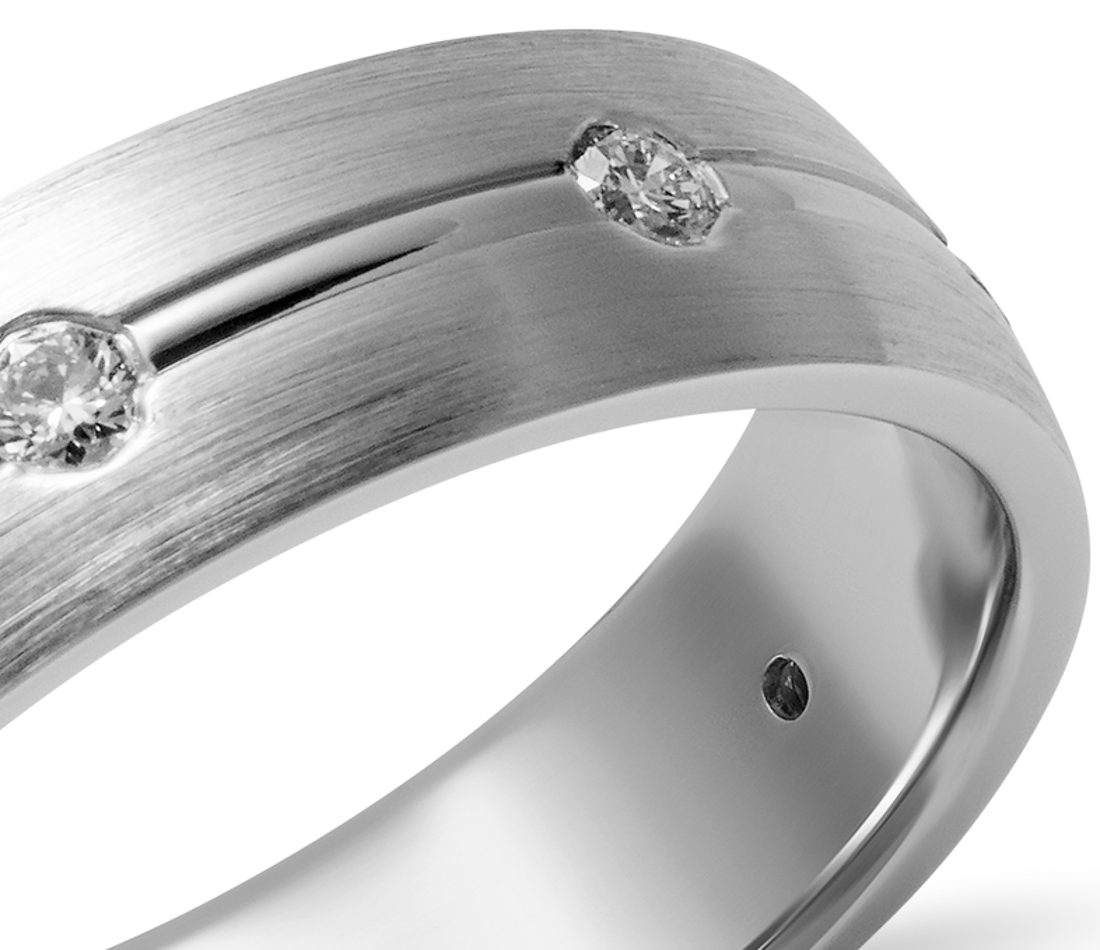 Alianza de diamante mate bruñido en oro blanco de 14k (6mm)