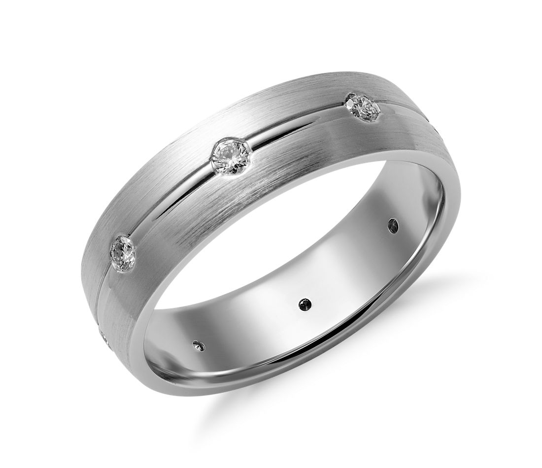 Matte Gypsy Set Diamond Wedding Ring in 14K White Gold (6mm)