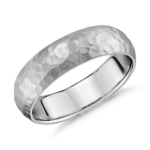 Matte Hammered Comfort Fit Wedding Ring in 14K White Gold (6mm)