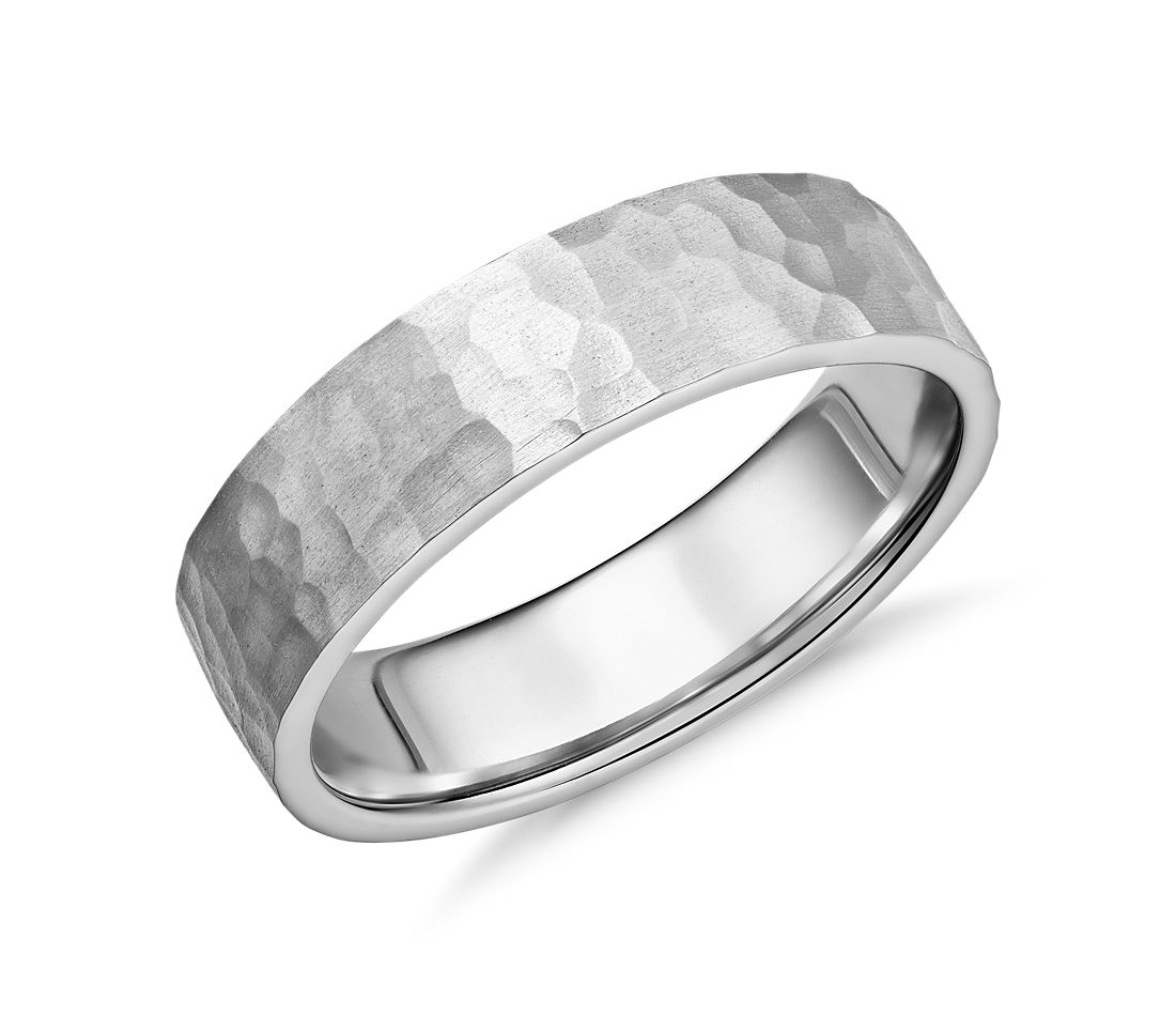 Flat Comfort Fit Wedding Band with Matte Hammered Finish in Platinum (6MM)