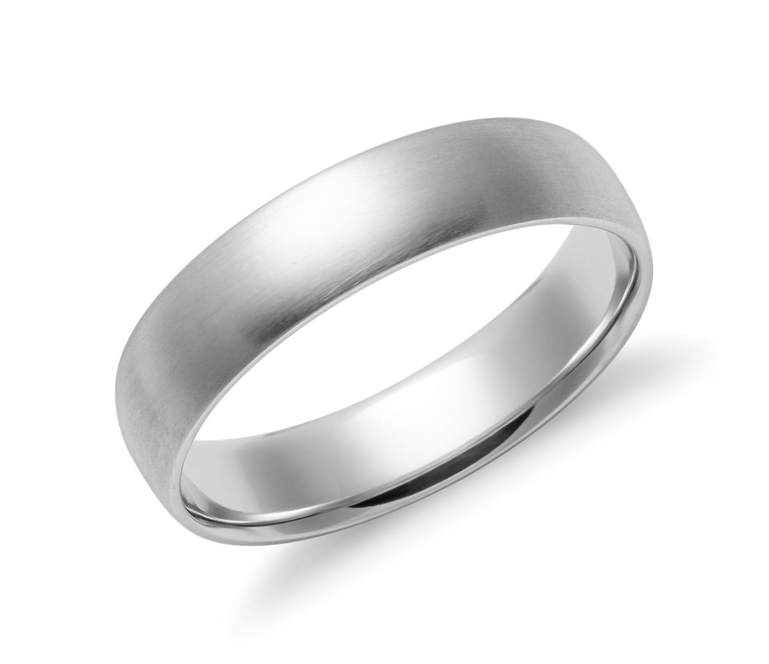 matte mid weight comfort fit wedding band in 14k white