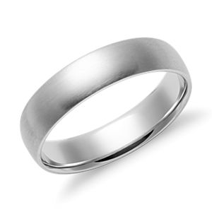 NEW Matte Mid-weight Comfort Fit Wedding Band in 14k White Gold (5mm)