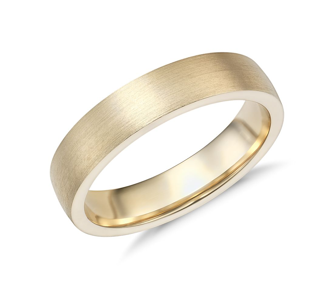 Matte low dome comfort fit wedding ring in 14k yellow gold for Wedding ring fitters