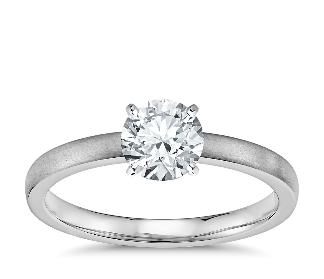 Matte Low Dome Comfort Fit Solitaire Engagement Ring in Platinum (2mm)