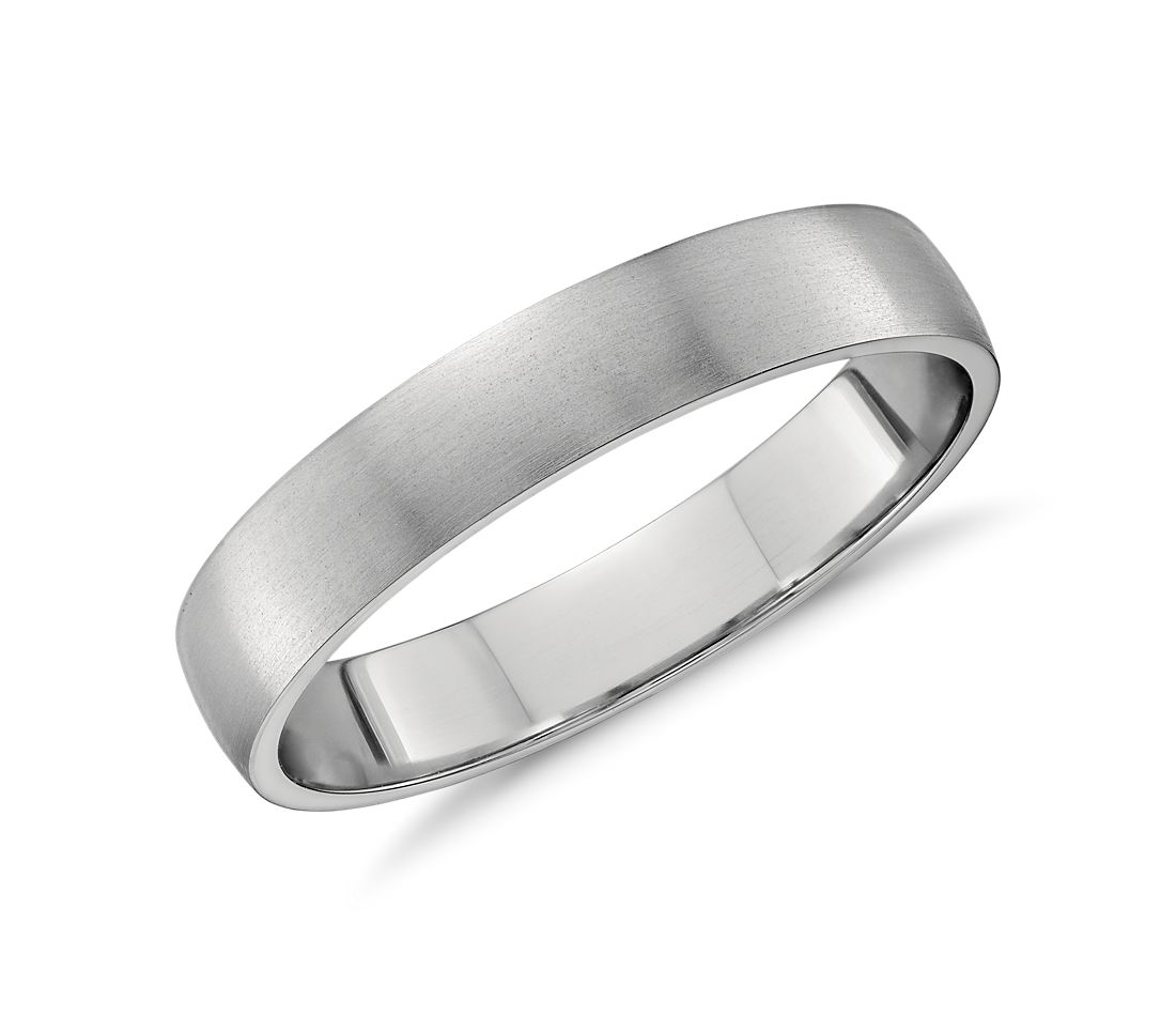 Classic Matte Low Dome Wedding Ring in Platinum (4mm)