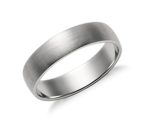 Matte Low Dome Wedding Ring in Platinum (5mm)