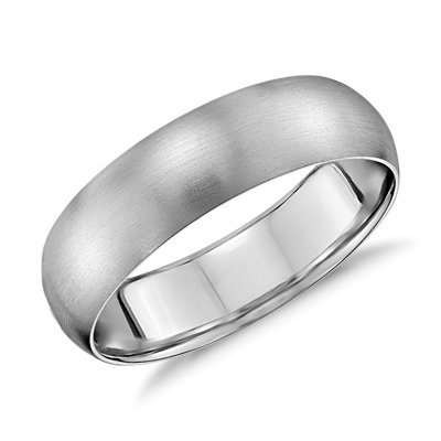 Alliance confort légère mate en or blanc 14 carats (6 mm)