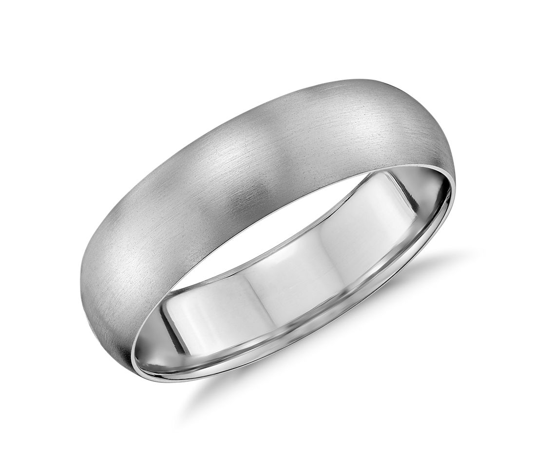 Matte Mid-weight Comfort Fit Wedding Ring in 14k White Gold (6mm)